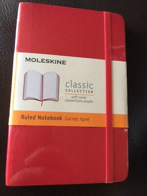 New Moleskine Red Pocket Ruled Notebook Soft 192 Pages Sealed 4597