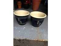 Pair of Dark Blue Planters