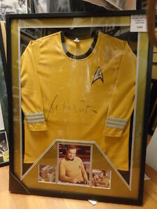 WILLIAM SHATNER SIGNED KIRK SHIRT CUSTOM FRAMED STAR TREK