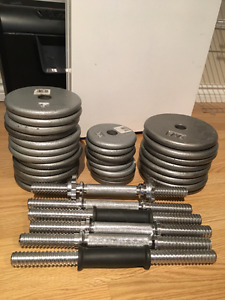140 lbs of weights with support