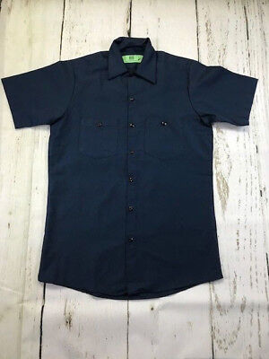 Navy Work Shirt Short Sleeve 100% Cotton Industrial Uniform, PACKS of 1 or 2 NEW