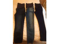 As New Maternity clothing - 3x Skinny Leg Jeans & a black skirt by Seraphine - size 10