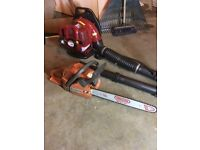 Husqvarna chainsaw and backpack blower