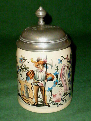 Age Hunter's tankard Hunting jug Beer Jugs Hunt Hunter Mettlach V+B ? RARE