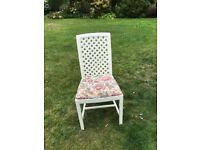 Set of 6 white plastic coated kitchen chairs with upholstered seats