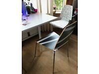 5 Ikea Chairs VILMAR Striped black & Stripped White - chrome-plated