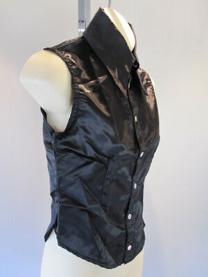 Nos Black Shiney Blouse Shirt Fitted Tank Top Vampire Goth Glam Psychobilly M Glam Peasant Top
