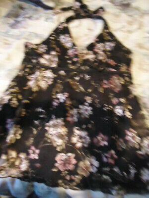 Halter Top, Cato, Brown with floral pink, beige pattern !Great condition! Sz (Floral Pattern Halter Top)