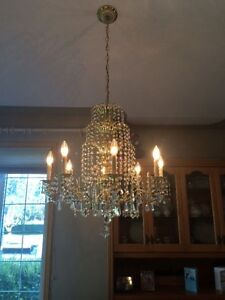 Crystal Chandelier and crystal wall scones