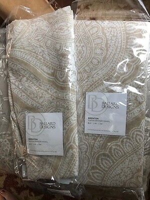 Ballard Designs Set 2 Brenton Drapes Sheer Neutral Tan 84  Curtains Pair Paisley