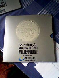 SAINSBURYS MILLENNIUM MEDALS/COINS COLLECTION COMPLETE IN ALBUM