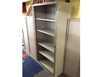 2m tall grey Bisley tambour unit with key