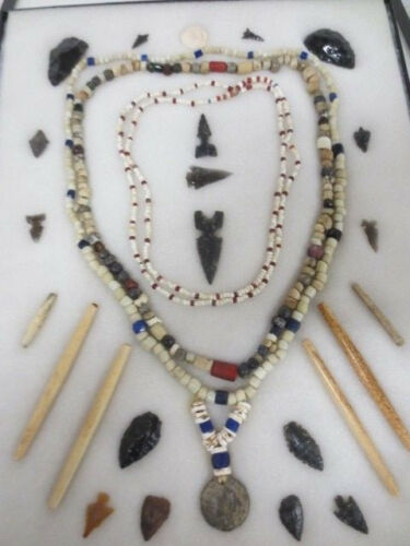 3 Trade Bead Necklaces/Arrowheads/Misc Yolo County Calif Ex Baker Collection