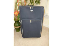Large Suitcase in Navy Fabric - Pull along Style