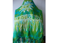 festival shawl summer scarf beach coverup beach sarong tie dye vintage clothing tassles large shawl