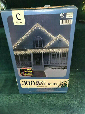 New Continuous 300-Count Constant Warm White Green Wire Icicle Lights Christmas