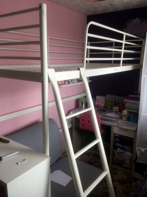 Ikea Tromso Single Loft Bed High Sleeper Complete With Sprung