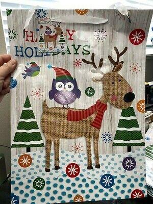 Owl Gift Bags ( Large Reindeer & Owl Christmas Gift Bag 18
