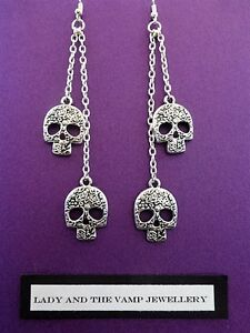 WOMENS HANDMADE GOTHIC SILVER CHAIN DOUBLE DROP EARRINGS & SILVER SUGAR SKULL