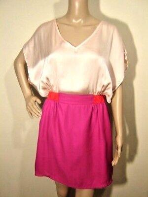 PAISLEY IVY M/L Satin Color Block Pink Orange Cutout BlouseTop/FittedSkirt Dress ()