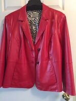 Plus size real leather jacket