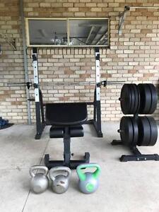 Gym Equipment 150KG Bumper weights, rack, kettlebells, dumbells Geebung Brisbane North East Preview