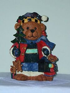 Hand Painted Porcelain Christmas Bear:NEW:in original box