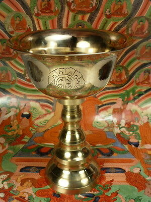 LARGE NEW Tibetan BRASS BUTTER LAMP. Created by Tibetan refugees living in NEPAL