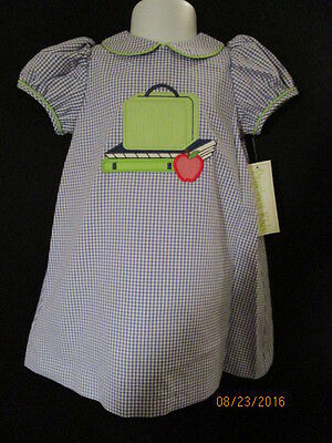 Back To School Apparel (BACK TO SCHOOL APPLIQUED DRESS ROYAL BLUE GINGHAM W/ LIME GINGHAM PIPING)