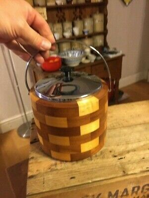 Vintage Lancraft Style Patterned Wooden Ice Bucket / Biscuit Barrel – Retro! –