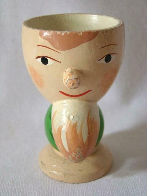Vintage Hand Painted Wood EGG CUP EGGCUP Man With Beard, SEVI ITALY