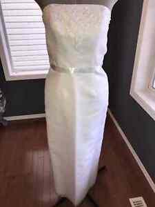White with Soft Blue Ribbon Accent Wedding Dress