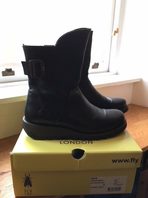 FLY LONDON SIEN BLACK ANKLE BOOTS, SIZE 7