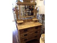 Stunning *OLD CHARM DRESSING TABLE & MIRROR* Stripped Wood Ornate Detail Gothic Shabby Chic