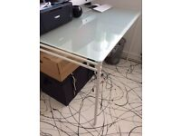 As new, Ikea glass-topped white dining table/desk