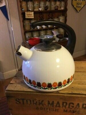 Vintage Enamel Stove-Top Kettle – Mushrooms Design – Display Only – Shabby! –