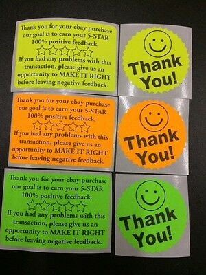 60 Thank You For Your Ebay Purchasefb 2x3fluorescent 2starburst New Stickers
