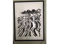 Beautiful signed and numbered big framed black and white illustration by wellknown Finnish artist