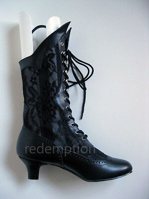 "Gorgeous 2"" Victorian Witch Granny Steampunk Black Western Steampunk Boots 6-12"