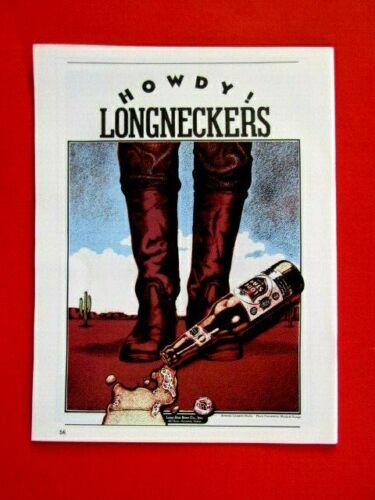 "Lone Star Beer  Howdy Longkneckers Original 1979 Print Ad 8.5 x 11"""