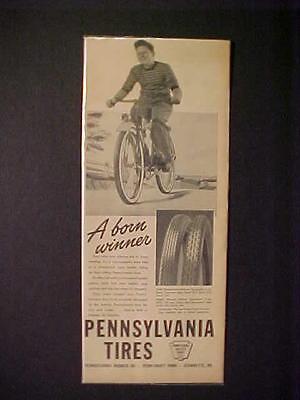 OLD ~ANTIQUE PENNSYLVANIA BIKE BICYCLE TIRE ART PRINT AD~ ORIGINAL VINTAGE 1940s