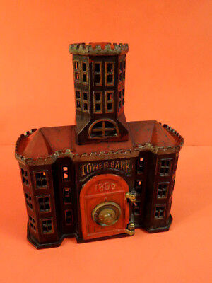 ALL ORIGINAL ANTIQUE 1890 TOWER BANK CAST IRON BUILDING with SAFE KEYSER & REX