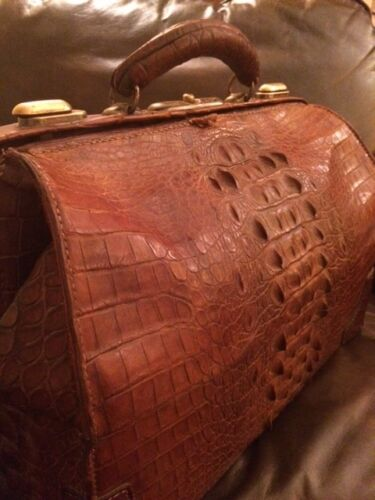 Alligator Doctor Bag Exceptional Large Antique