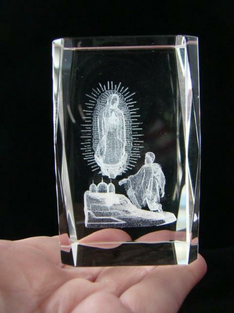 Genuine Etched Lead Glass PAPERWEIGHT Religious JESUS & ANGEL by BIT Crystal