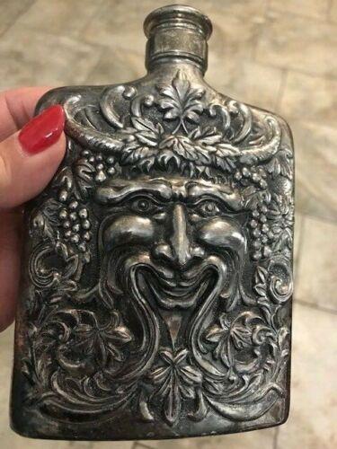"""Godinger Silver Plate Bacchus Face of Wine God Liquor 6"""" Flask  Vintage Japan"""