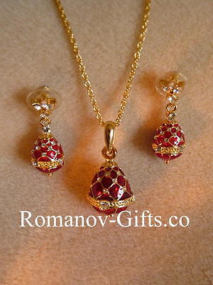 Russian Ruby Red EGG Earrings (posts) & Necklace SET