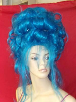 Wild Curl Wig - SIN CITY WIGS BIG NEON BLUE QUEEN HAIR! PILES OF SET CURLS SKY HIGH UP DO WILD!