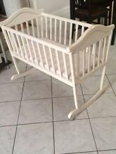 White wooden baby cradle with mattress Chatswood Willoughby Area Preview
