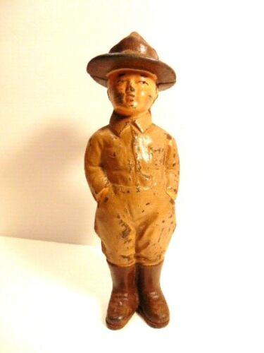"vintage cast iron bank:  World War I era ""Doughboy"" soldier"