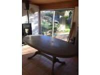 Dining table - extending - pine, painted grey